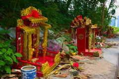 Chinese shrine. Chinese shrine is lined on the roadside Stock Photos