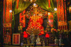 Chinese shrine statues of ancestors and gods Royalty Free Stock Photo