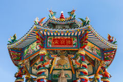 Chinese shrine in thailand on blue sky background Stock Photo
