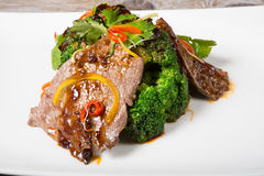 Chinese sichuan meat with broccoli Royalty Free Stock Photo