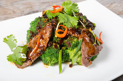 Chinese sichuan meat with broccoli Royalty Free Stock Photos
