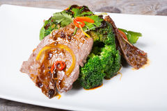 Chinese sichuan meat with broccoli Royalty Free Stock Image