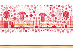 Chinese silhouette banner red Royalty Free Stock Photography