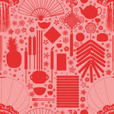 Chinese silhouette red seamless pattern Stock Image