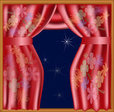 Chinese Silk Curtains. View of a window with red silk curtains with floral pattern Vector Illustration
