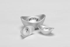 Chinese silver ingot. On white Stock Photography