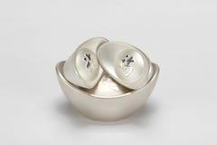 Chinese silver ingot. On white Royalty Free Stock Photo