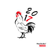 Chinese simbol of 2017 - rooster. Chinese sign for the year of rooster 2017  on white background. Vector illustration Royalty Free Stock Photography