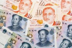 Chinese Singapore currencies. Mixture of Chinese and Singapore currency notes Stock Photography