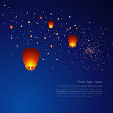 Chinese sky lanterns in a dark night background Royalty Free Stock Images