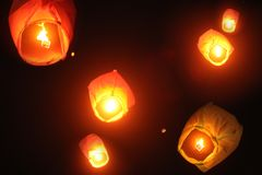 Chinese sky lanterns lit up the Indian skies during Diwali, due to infiltration of Chinese products sold cheap in India.These stock photos