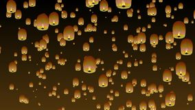 Chinese sky lanterns. stock illustration