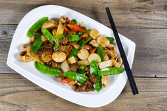 Chinese sliced beef and veggies dish ready to eat Stock Image