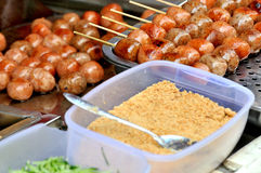 Chinese snack, frying meat ball. Making frying meat ball in spicy and special flavour taste in China, shown local aroma and different cooking or food culture as Royalty Free Stock Photography