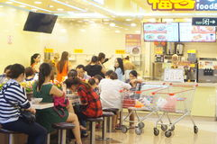 Chinese snack shop, people in the enjoyment of Food. In Shenzhen Baoan, Xixiang, China Royalty Free Stock Photography