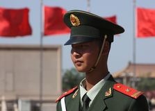 Chinese soldier. A soldier in Tiananmen Square, Beijing, China stock photo