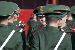 Chinese soldiers. BEIJING - APRIL 2: Chinese soldiers prepare for the national flag ceremony on April 2, 2010 in Beijing, China. Here officers inspect soldiers Royalty Free Stock Image