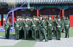 Chinese soldiers. BEIJING - APRIL 2: Chinese soldiers prepare for the national flag ceremony on April 2, 2010 in Beijing, China. Here officers inspect soldiers Royalty Free Stock Photos