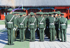 Chinese soldiers. BEIJING - APRIL 2: Chinese soldiers prepare for the national flag ceremony on April 2, 2010 in Beijing, China. Here officers inspect soldiers Royalty Free Stock Images