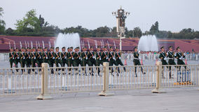Chinese Soldiers. At Tian'anmen Flag Lowering Ceremony Stock Image