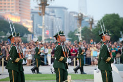 Chinese Soldiers. At Tian'anmen Flag Lowering Ceremony Stock Photo