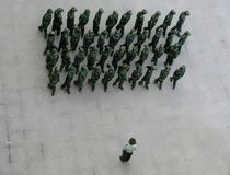 Chinese Soldiers. Doing exercises Stock Photography