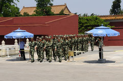 Chinese Soldiers on Parade. Beijing, China. Chinese military soldiers on parade outside the Forbidden City near Tiananmen Square Royalty Free Stock Photography