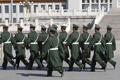 Chinese soldiers on Square. Beijing Tian'Anmen. Square guard of Chinese soldiers.Guard. Duty Royalty Free Stock Images