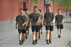 Chinese soldiers are trained in Beijing. Tiananmen square. China Stock Photos