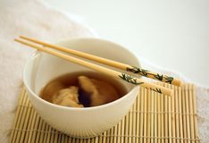 Chinese soup. Soup with dumplings stock images