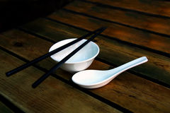 Chinese soup bowl and chopsticks Royalty Free Stock Photo