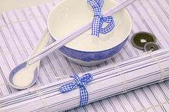 Chinese Soup Bowl & Spoon Stock Photos