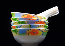 Chinese soup bowls. Isolated on black background royalty free stock image