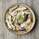 Chinese soup with chicken, shiitake mushrooms and green onions Stock Photo