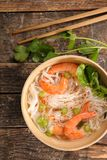 Chinese soup. With noodles and shrimp Stock Images
