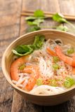 Chinese soup. With noodles and shrimp Royalty Free Stock Images