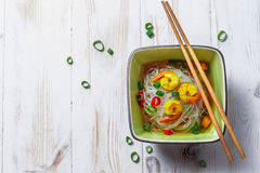 Chinese soup with shrimp and rice noodles Royalty Free Stock Image