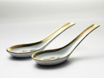 Chinese soup spoon Stock Photos