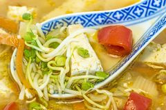 Chinese soup with tofu Royalty Free Stock Image