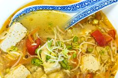 Chinese soup with tofu Stock Image
