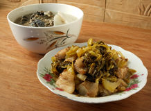 Chinese sour pickles fried meat and soup Royalty Free Stock Photo