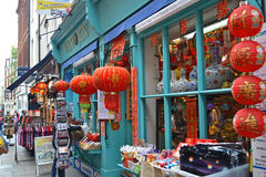 Chinese Souvenir. London - September 13: an oriental souvenir shop in Chinatown, London, UK on September 13, 2014. Many chinese restaurants, shops and businesses Stock Images