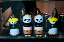Chinese souvenirs Figurines of panda bears. panda animal toys favorite souvenir in tourist shops in China royalty free stock image