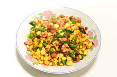 Chinese specialties. Fry made with corn kernels and green peppers mixed vegetables Royalty Free Stock Photo