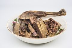 Chinese specialties, salted duck, cooked food. Chinese specialties, salted duck is a famous specialty in Nanjing. It belongs to Jinling cuisine, also known as stock photography