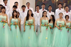 Chinese speech choir. The XIV International Festival of Choral Art Singing World. Cathedral of Saints Peter and Paul, St. Petersburg, Russia Royalty Free Stock Images