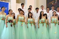 Chinese speech choir. The XIV International Festival of Choral Art Singing World. Cathedral of Saints Peter and Paul, St. Petersburg, Russia Stock Images