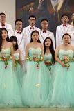 Chinese speech choir. The XIV International Festival of Choral Art Singing World. Cathedral of Saints Peter and Paul, St. Petersburg, Russia Stock Image