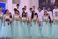 Chinese speech choir. The XIV International Festival of Choral Art Singing World. Cathedral of Saints Peter and Paul, St. Petersburg, Russia Royalty Free Stock Photography