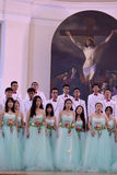 Chinese speech choir. The XIV International Festival of Choral Art Singing World. Cathedral of Saints Peter and Paul, St. Petersburg, Russia Stock Photos